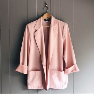 Vintage Pink Oversized One Button Boss Blazer